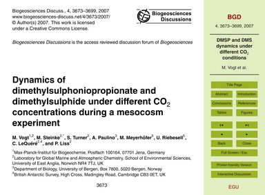 Dynamics of Dimethylsulphoniopropionate ... by Vogt, M.