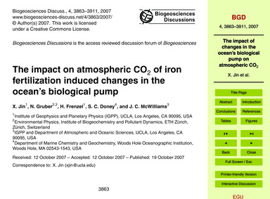 The Impact on Atmospheric Co2 of Iron Fe... by Jin, X.