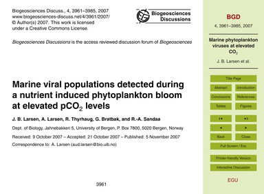 Marine Viral Populations Detected During... by Larsen, J. B.