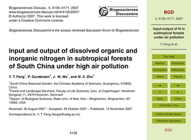 Input and Output of Dissolved Organic an... by Fang, Y. T.
