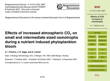 Effects of Increased Atmospheric Co2 on ... by Paulino, A. I.