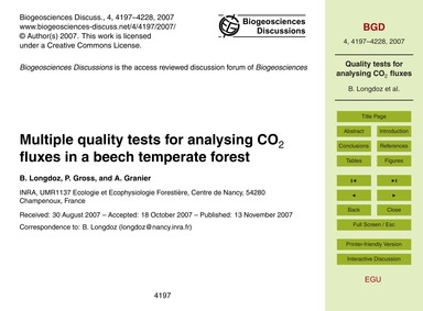 Multiple Quality Tests for Analysing Co2... by Longdoz, B.