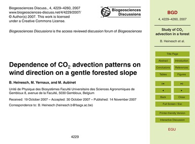 Dependence of Co2 Advection Patterns on ... by Heinesch, B.
