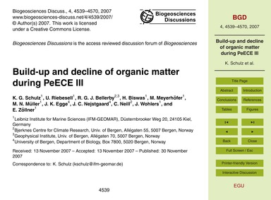 Build-up and Decline of Organic Matter D... by Schulz, K. G.