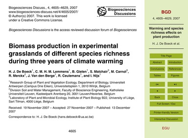 Biomass Production in Experimental Grass... by De Boeck, H. J.