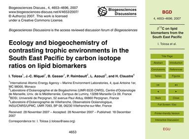 Ecology and Biogeochemistry of Contrasti... by Tolosa, I.