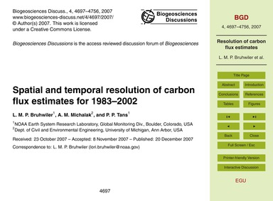 Spatial and Temporal Resolution of Carbo... by Bruhwiler, L. M. P.
