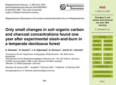 Only Small Changes in Soil Organic Carbo... by Eckmeier, E.