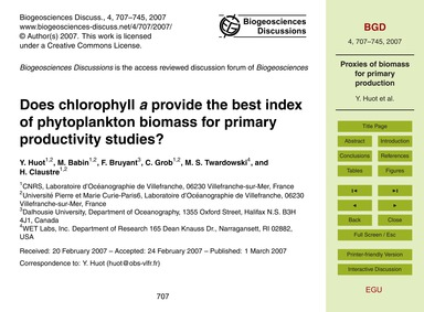 Does Chlorophyll A Provide the Best Inde... by Huot, Y.