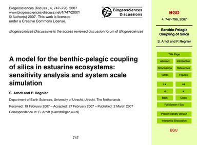 A Model for the Benthic-pelagic Coupling... by Arndt, S.