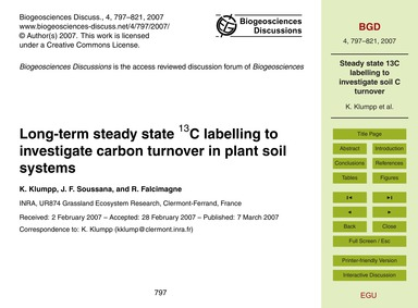 Long-term Steady State 13C Labelling to ... by Klumpp, K.