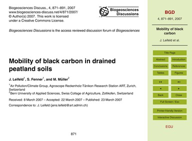 Mobility of Black Carbon in Drained Peat... by Leifeld, J.