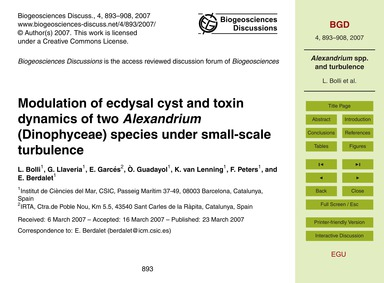 Modulation of Ecdysal Cyst and Toxin Dyn... by Bolli, L.