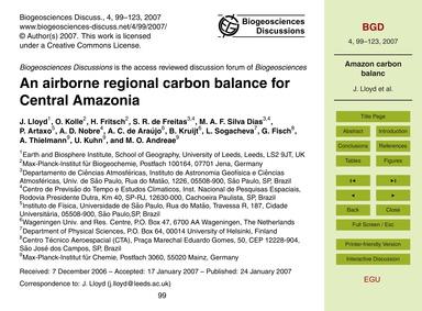 An Airborne Regional Carbon Balance for ... by Lloyd, J.