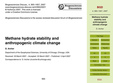 Methane Hydrate Stability and Anthropoge... by Archer, D.