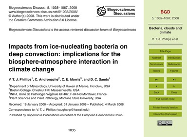 Impacts from Ice-nucleating Bacteria on ... by Phillips, V. T. J.