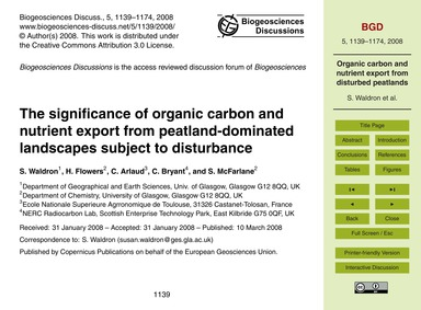 The Significance of Organic Carbon and N... by Waldron, S.
