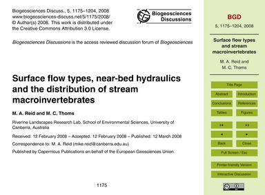 Surface Flow Types, Near-bed Hydraulics ... by Reid, M. A.