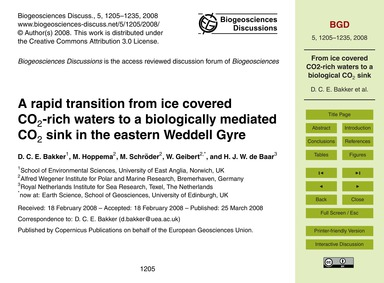 A Rapid Transition from Ice Covered Co2-... by Bakker, D. C. E.