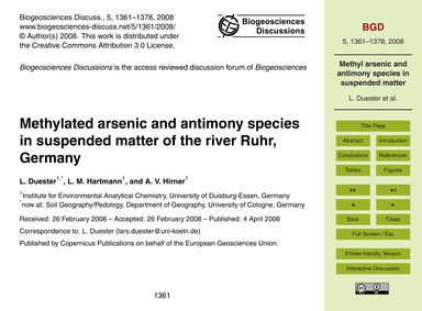 Methylated Arsenic and Antimony Species ... by Duester, L.