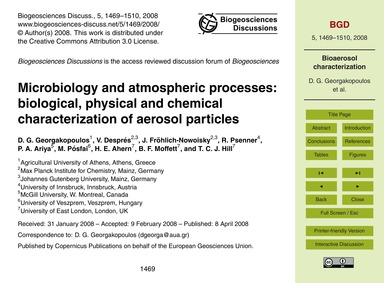 Microbiology and Atmospheric Processes: ... by Georgakopoulos, D. G.