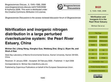 Nitrification and Inorganic Nitrogen Dis... by Minhan Dai