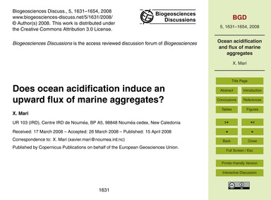 Does Ocean Acidification Induce an Upwar... by Mari, X.