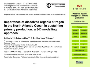 Importance of Dissolved Organic Nitrogen... by Charria, G.