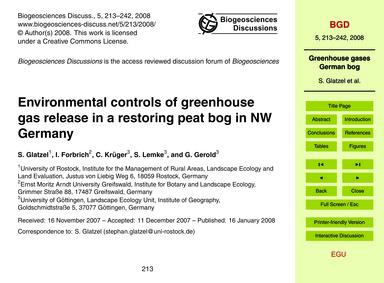 Environmental Controls of Greenhouse Gas... by Glatzel, S.