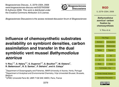 Influence of Chemosynthetic Substrates A... by Riou, V.