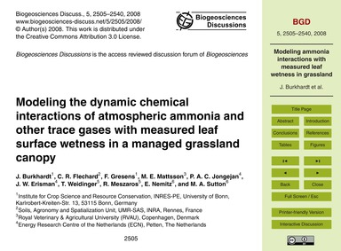 Modeling the Dynamic Chemical Interactio... by Burkhardt, J.