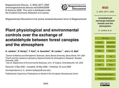 Plant Physiological and Environmental Co... by Jardine, K.