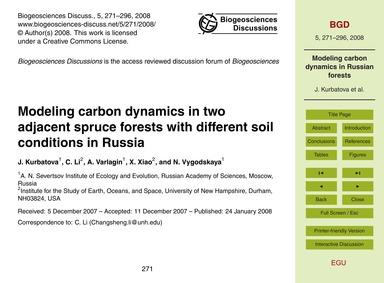 Modeling Carbon Dynamics in Two Adjacent... by Kurbatova, J.