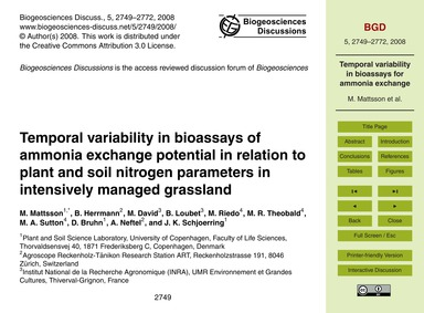 Temporal Variability in Bioassays of Amm... by Mattsson, M.