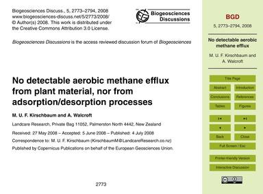 No Detectable Aerobic Methane Efflux fro... by Kirschbaum, M. U. F.