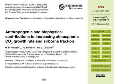 Anthropogenic and Biophysical Contributi... by Raupach, M. R.