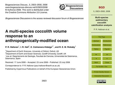 A Multi-species Coccolith Volume Respons... by Halloran, P. R.