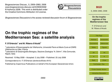 On the Trophic Regimes of the Mediterran... by D'Ortenzio, F.