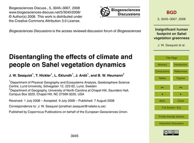 Disentangling the Effects of Climate and... by Seaquist, J. W.