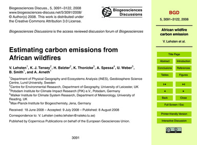 Estimating Carbon Emissions from African... by Lehsten, V.