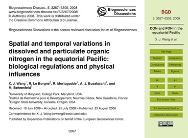 Spatial and Temporal Variations in Disso... by Wang, X. J.