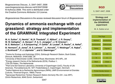 Dynamics of Ammonia Exchange with Cut Gr... by Sutton, M. A.