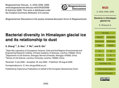 Bacterial Diversity in Himalayan Glacial... by Zhang, S.