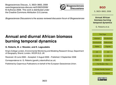 Annual and Diurnal African Biomass Burni... by Roberts, G.