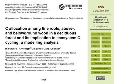 C Allocation Among Fine Roots, Above-, a... by Campioli, M.