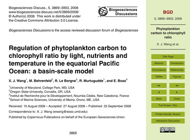 Regulation of Phytoplankton Carbon to Ch... by Wang, X. J.