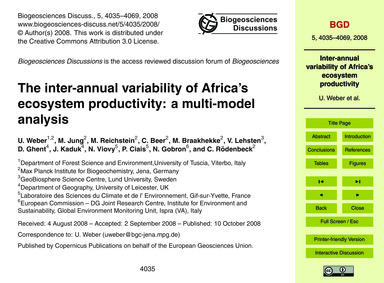 The Inter-annual Variability of Africa's... by Weber, U.