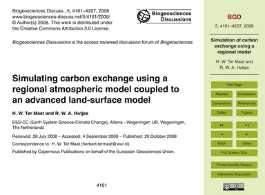 Simulating Carbon Exchange Using a Regio... by Ter Maat, H. W.