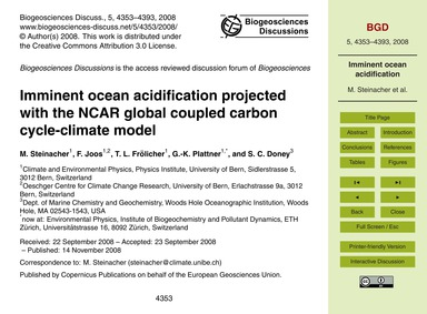 Imminent Ocean Acidification Projected w... by Steinacher, M.