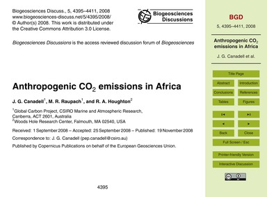 Anthropogenic Co2 Emissions in Africa : ... by Canadell, J. G.